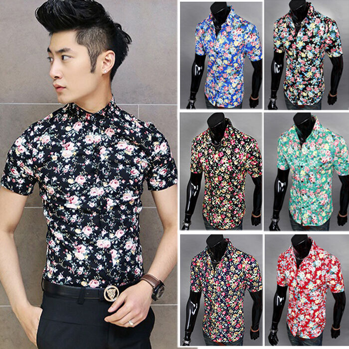 Fashion Mens Summer Floral Short Sleeve Button Up Slim Fit Tops ...