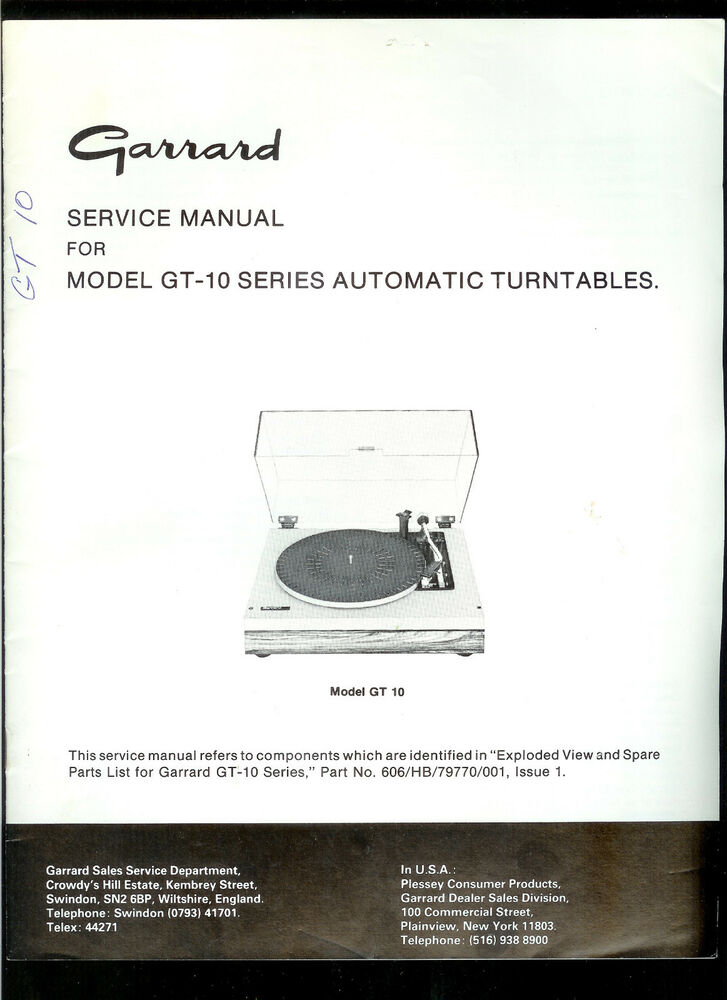 rare original factory garrard gt 10 turntable record player service rh ebay com HP Owner Manuals Parts Manual