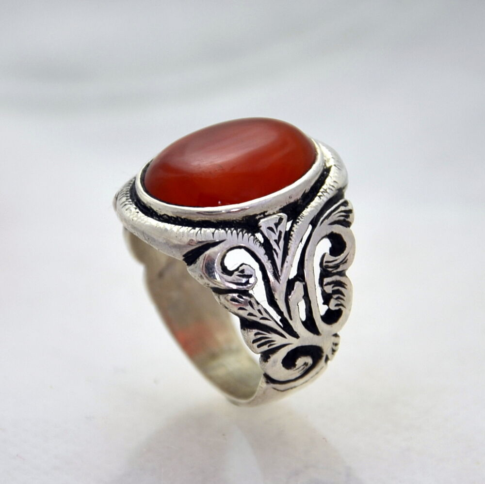 Hand Made Finish Mens Ring With Agate Stone Sterling Silver Ring 925 Ebay