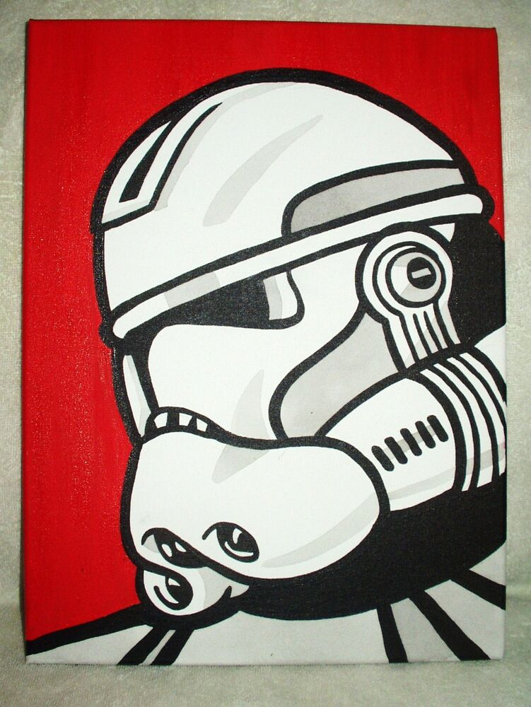 canvas painting star wars clone commander red pop art 16x12 inch acrylic ebay. Black Bedroom Furniture Sets. Home Design Ideas