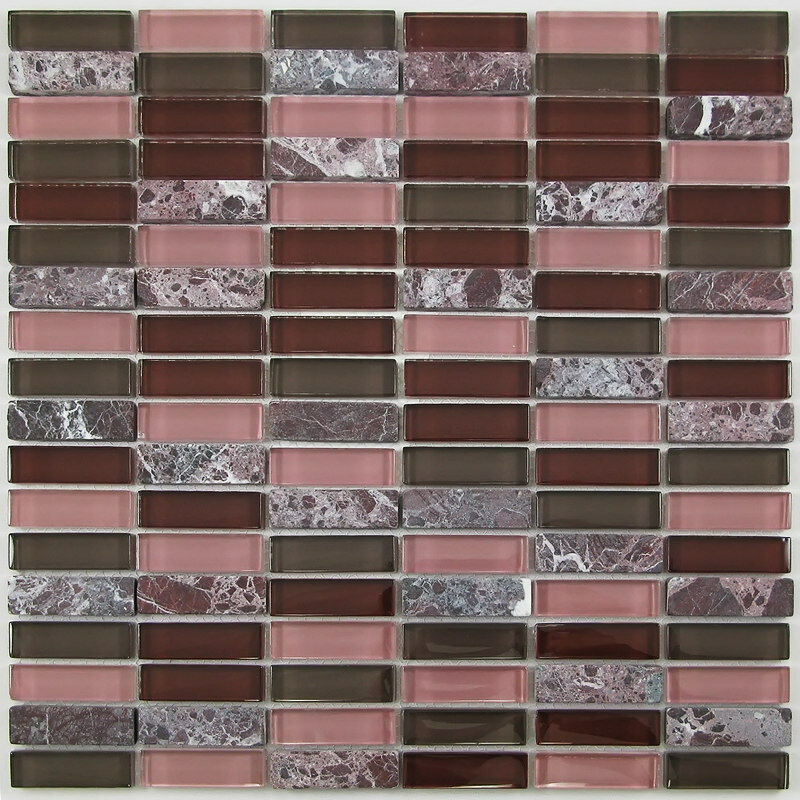 Sample Dark Red Subway Glass And Stone Mosaic Tile For