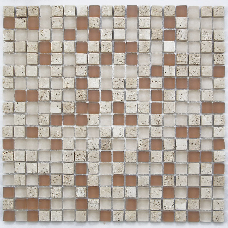 Sample light brown small glass and stone mosaic tile for for Small glass tile backsplash