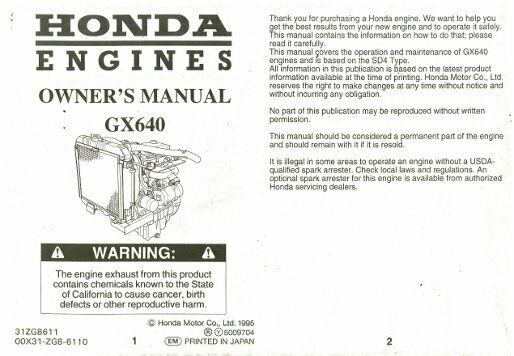 honda gx engine owners manual zg ebay