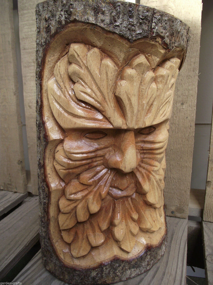 Medium green man log carving hand carved nature gift
