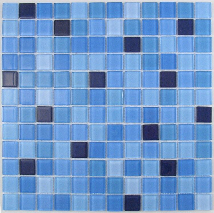 SAMPLE. Blue Mix Glass Mosaic Tile For Bathroom, Kitchen