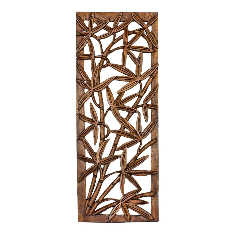 Bamboo Wood Wall Decor : Wood relief panel wall sculpture hand carved bamboo tree