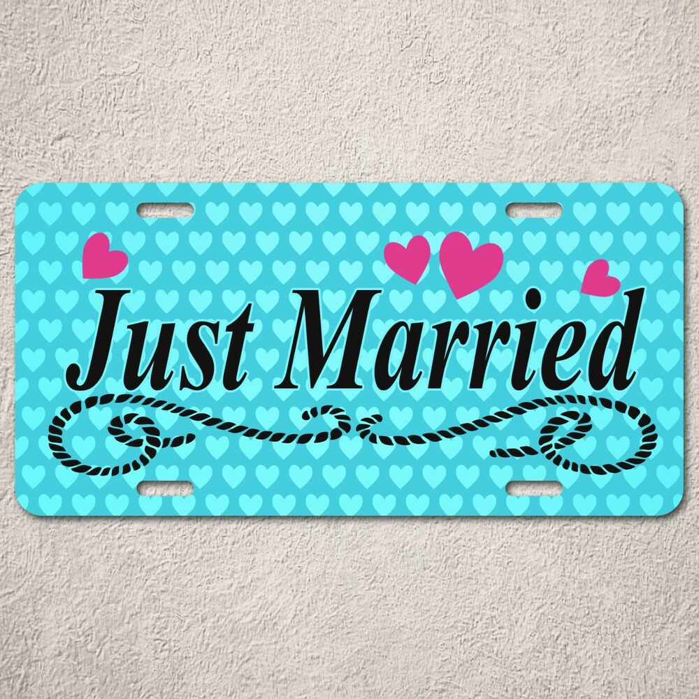 Lp0220 just married sign auto license plate home room car for Just married dekoration