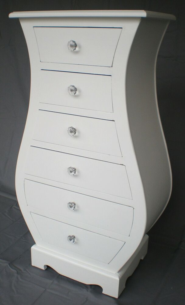 Chic French White 6 Drawer Curved Chest Cabinet Crystal