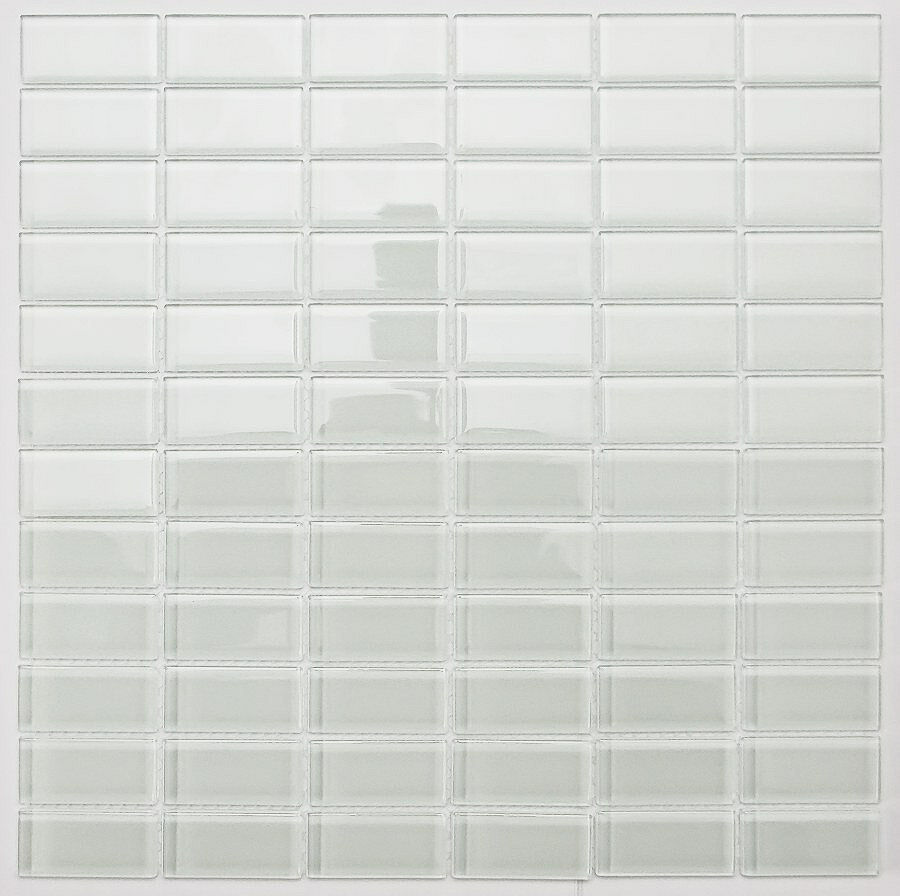 Sample White Gray Random Subway Glass Mosaic Tile Kitchen: SAMPLE. White Subway Glass Mosaic Tile For Bathroom