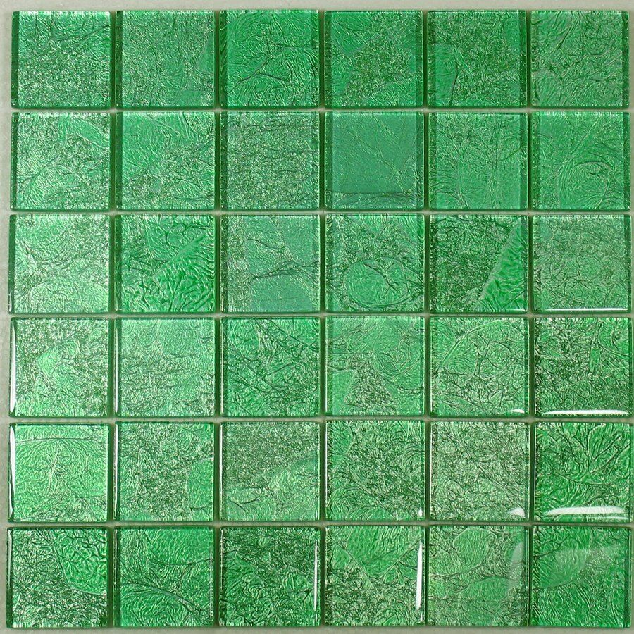 SAMPLE. Green Crackled Foil Glass Mosaic Tile Bathroom