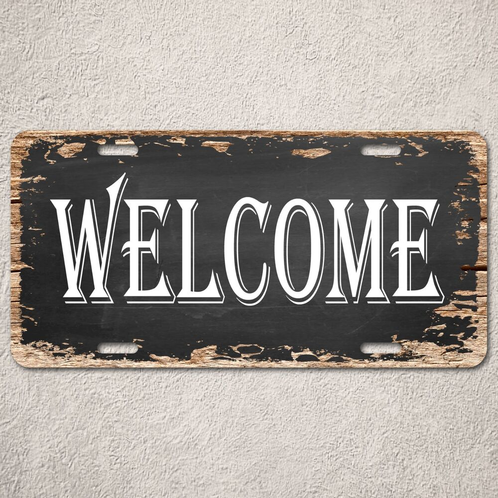 Rustic Bar Wall Decor : Lp welcome sign rustic auto license plate beach bar