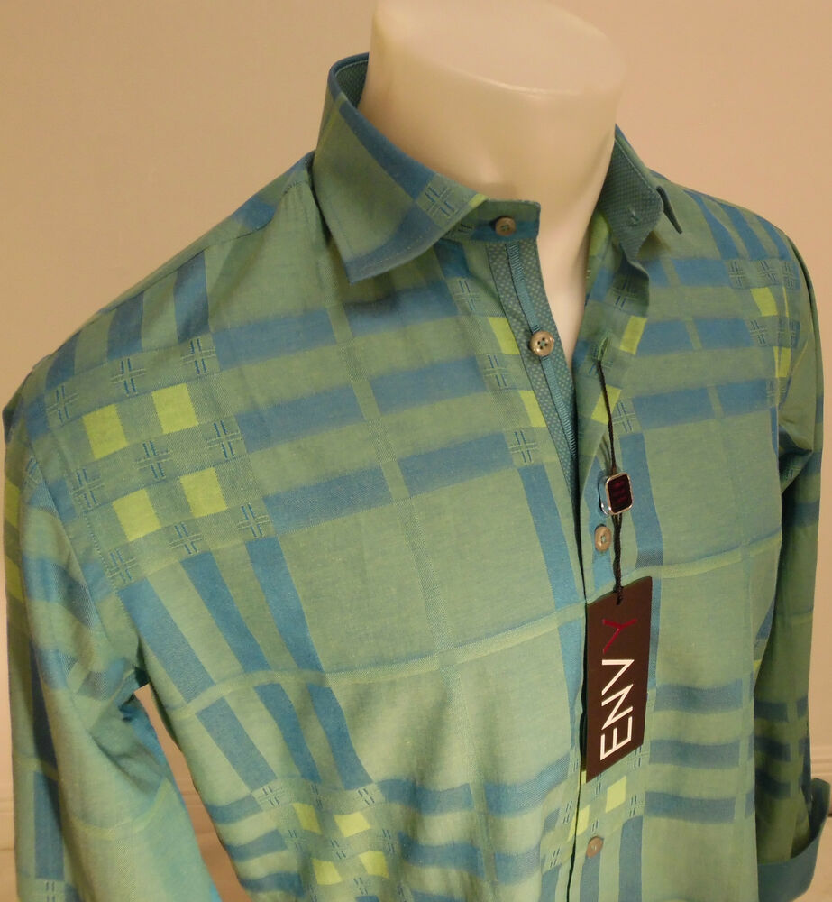 Mens Envy Long Sleeve Button Down Dress Shirt Green Blue