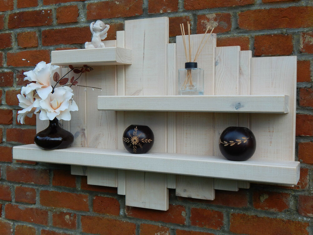 SALE WHITE WASH LARGE RUSTIC FLOATING WALL ART SHELF WOOD