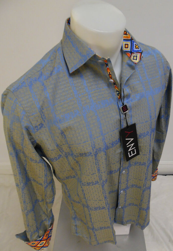 Mens Envy Long Sleeve Button Down Dress Shirt Blue Gray