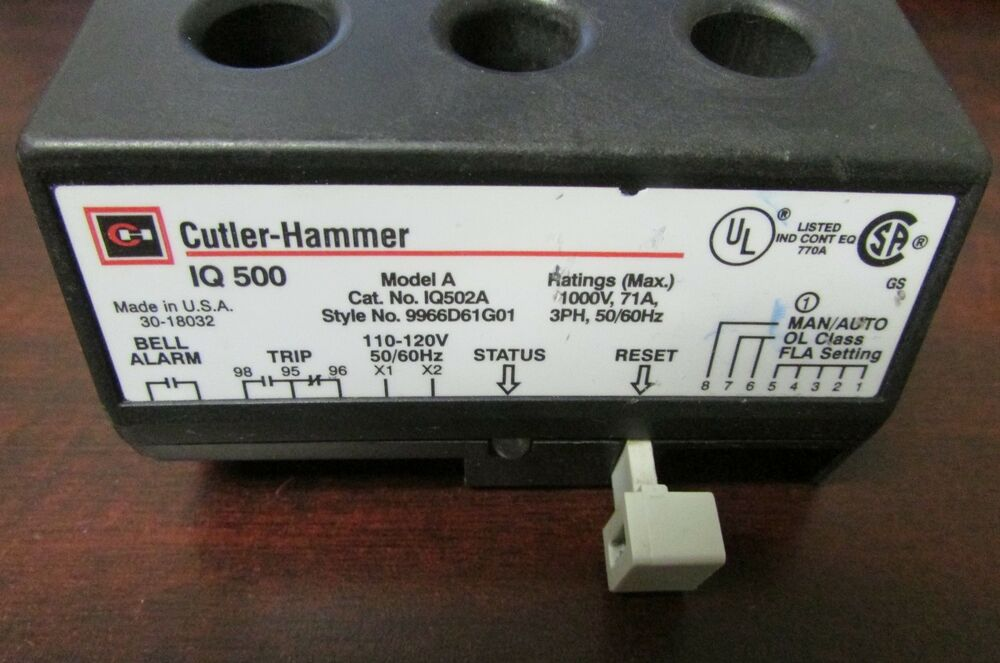 Cutler Hammer Iq502a Model A Iq500 Motor Protection Relay