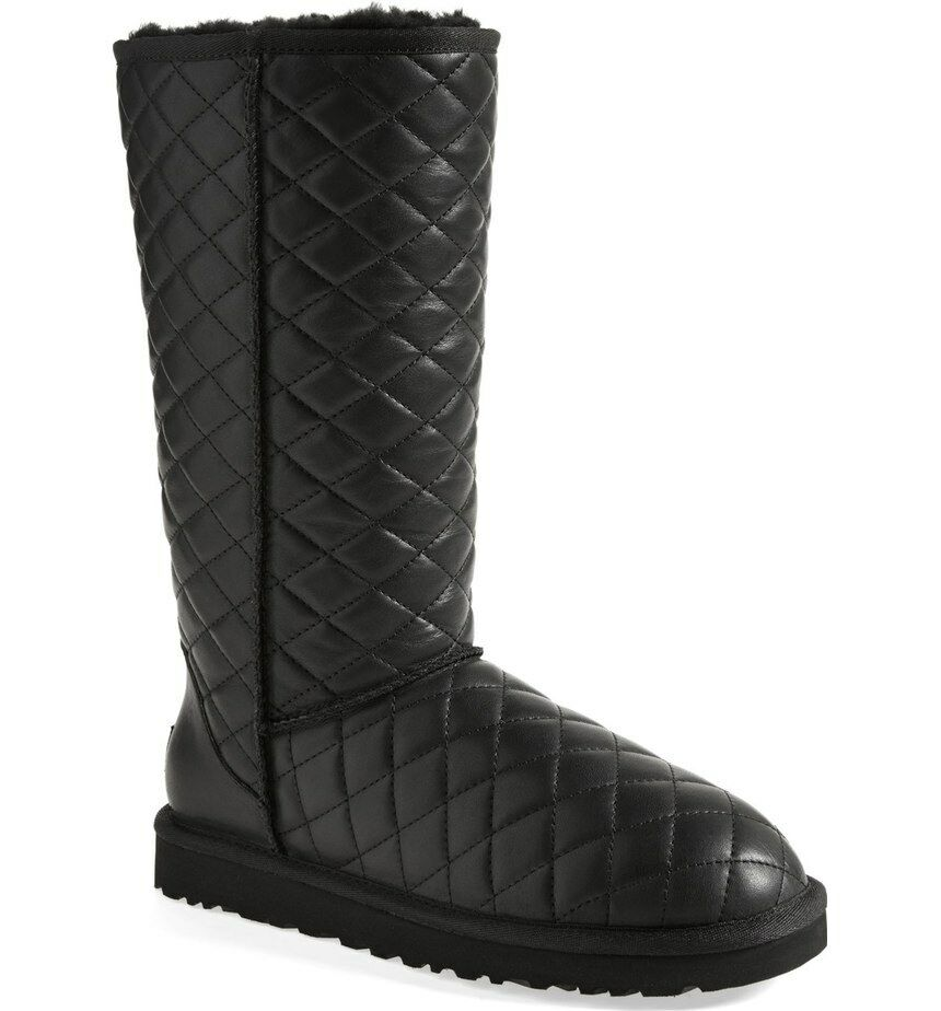 Ugg Australia Classic Tall Leather Diamond Quilted Boots