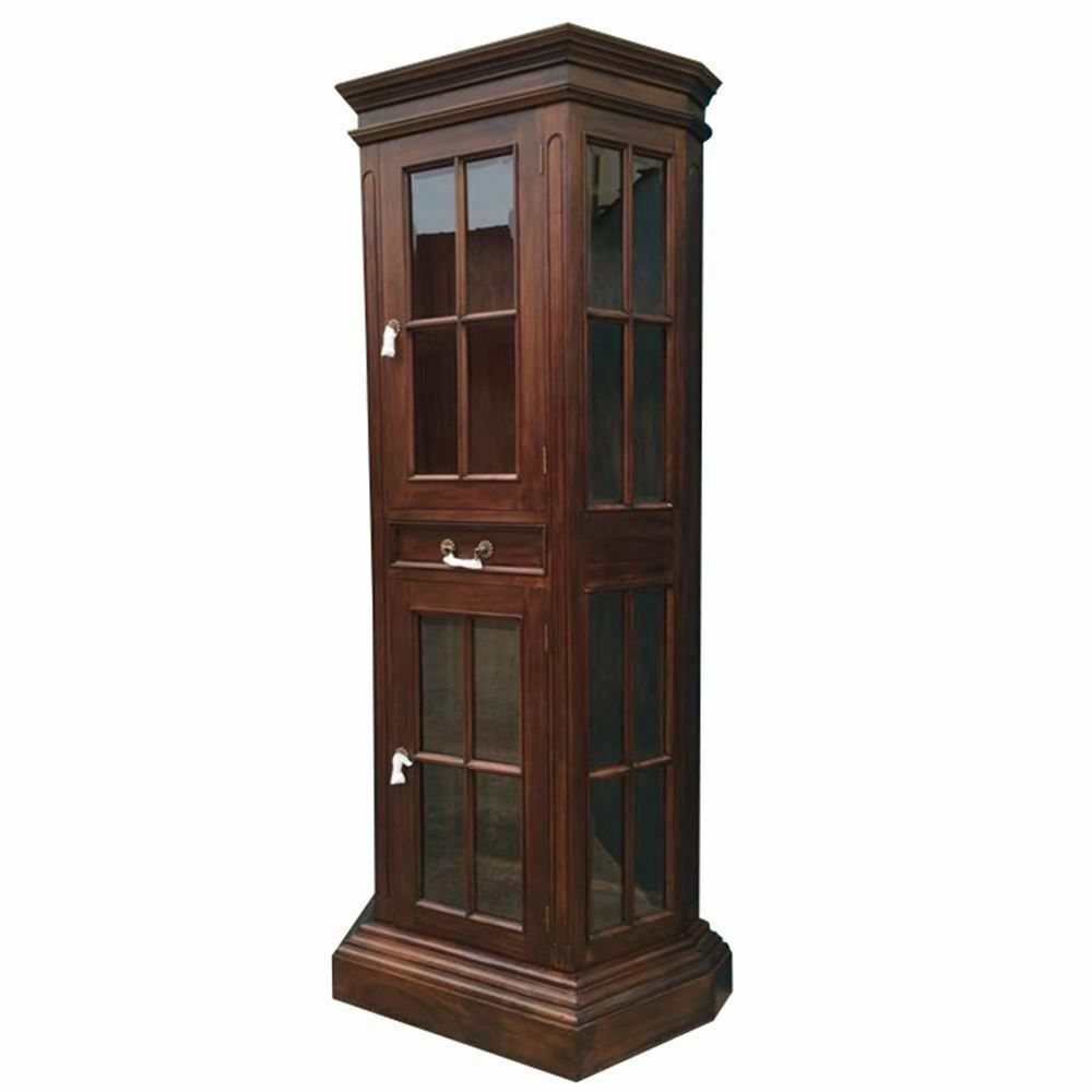 Solid mahogany wood profile display cabinet bookcase for Antique display cabinet