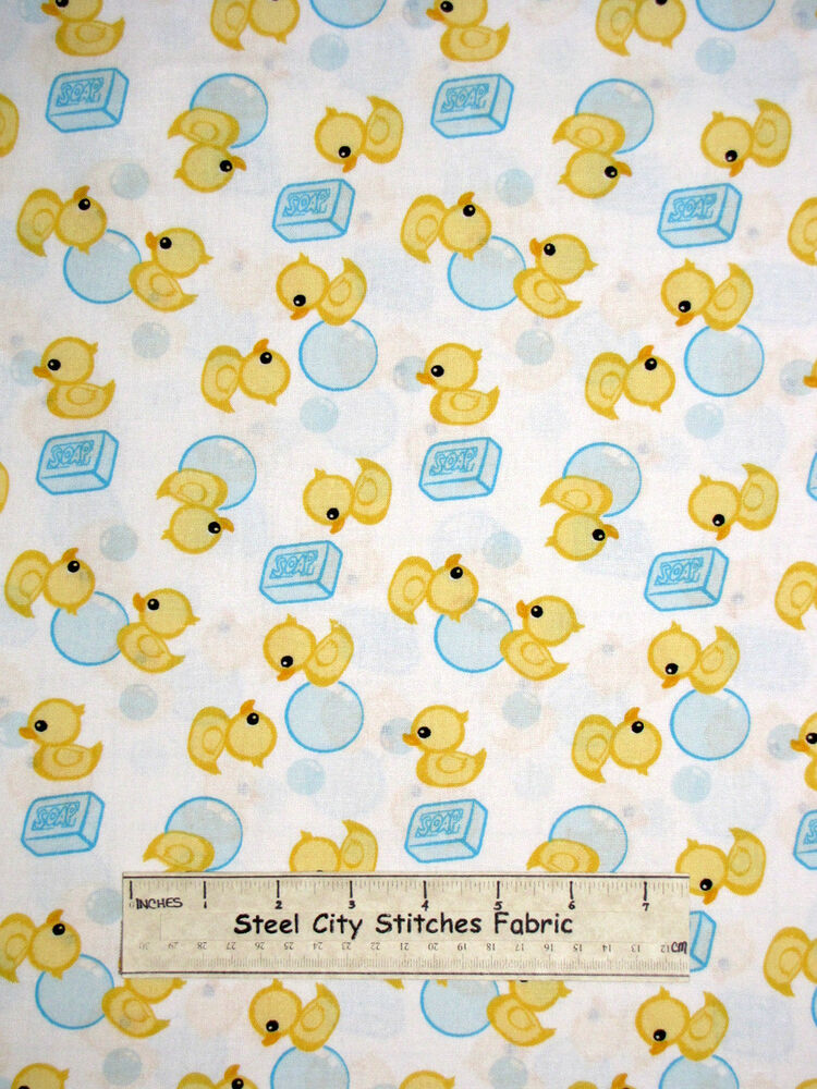 Just ducky yellow rubber ducks soap bubbles kids bath for Baby fabric uk