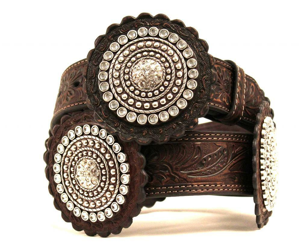 nocona western womens belt leather embossed rosette