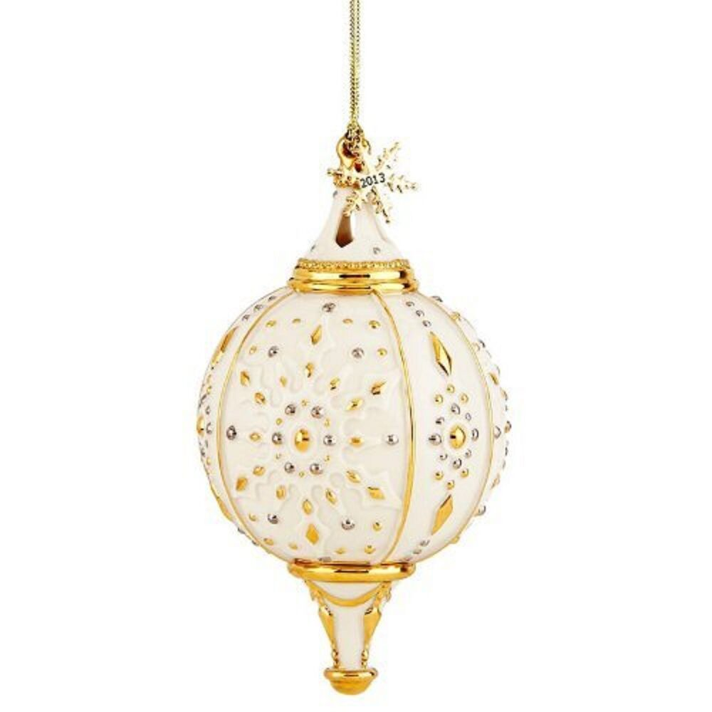 Lenox annual spire snowflake ornament gold accents
