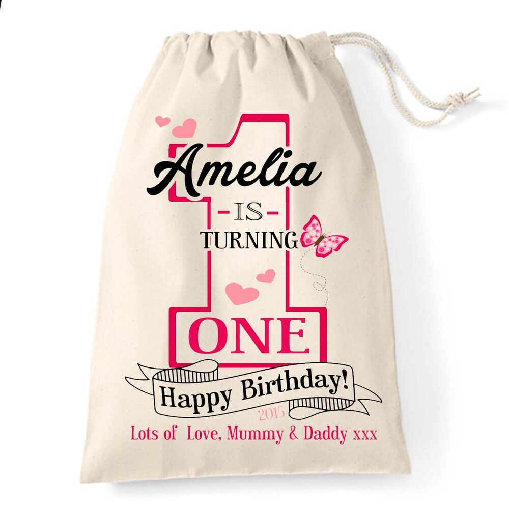 Baby Gift Sack : Personalised baby girl st first birthday cotton gift bag