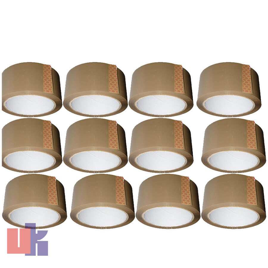 12 Brown Parcel Packing Strong Tape 66m X48mm Rolls
