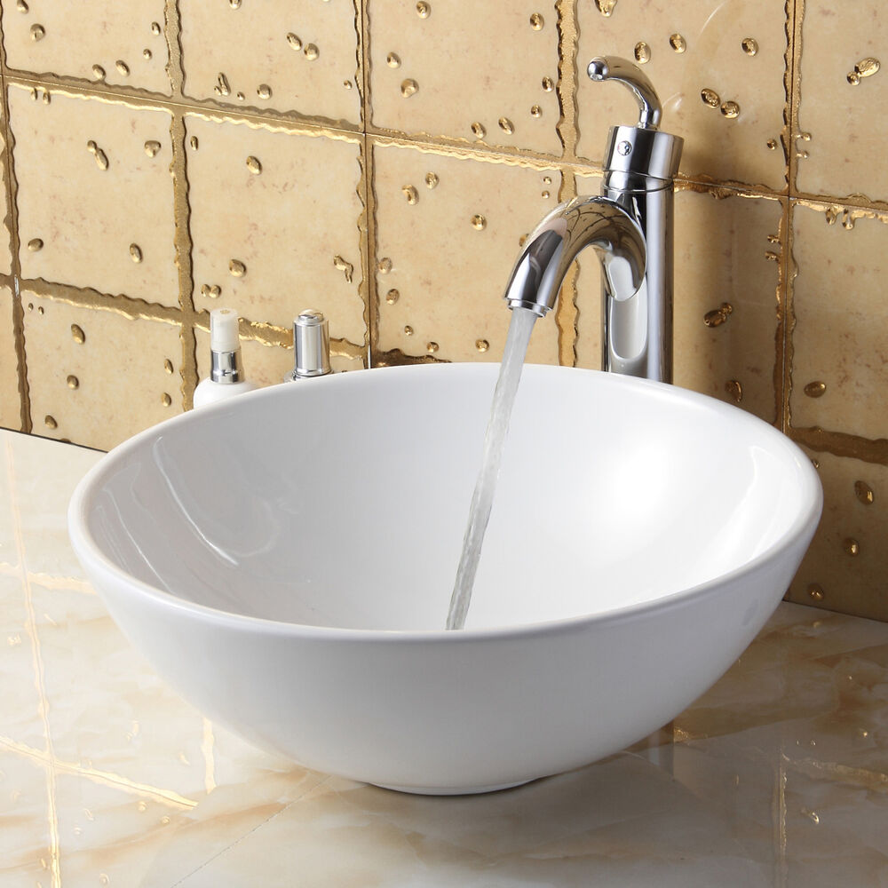 ELITE Bathroom Round White Ceramic Vessel Sink & Chrome