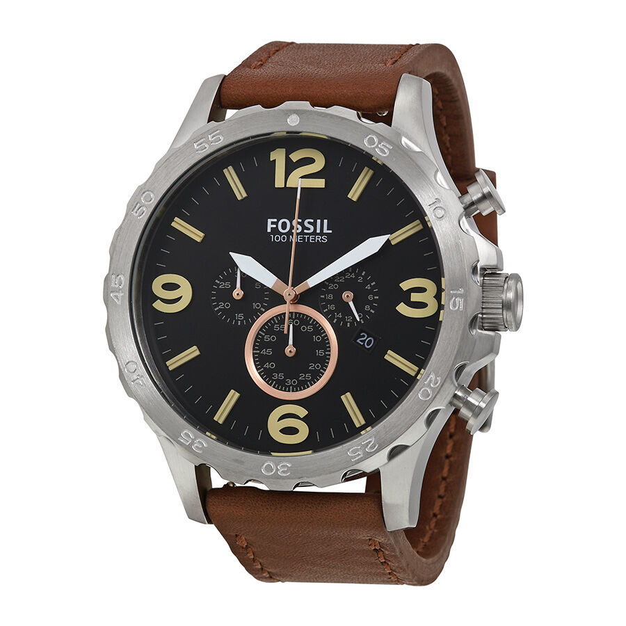 fossil nate chronograph black brown leather mens