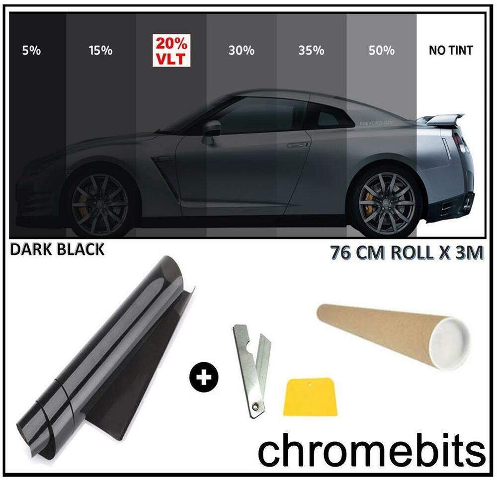 Car window tint film tinting dark black smoke 20 76cm x for 20 window tint at night