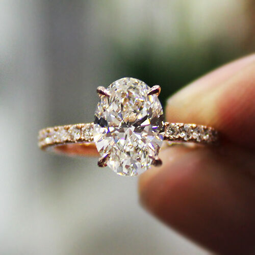 2 30 Ct Natural Oval Cut Pave Diamond Engagement Ring