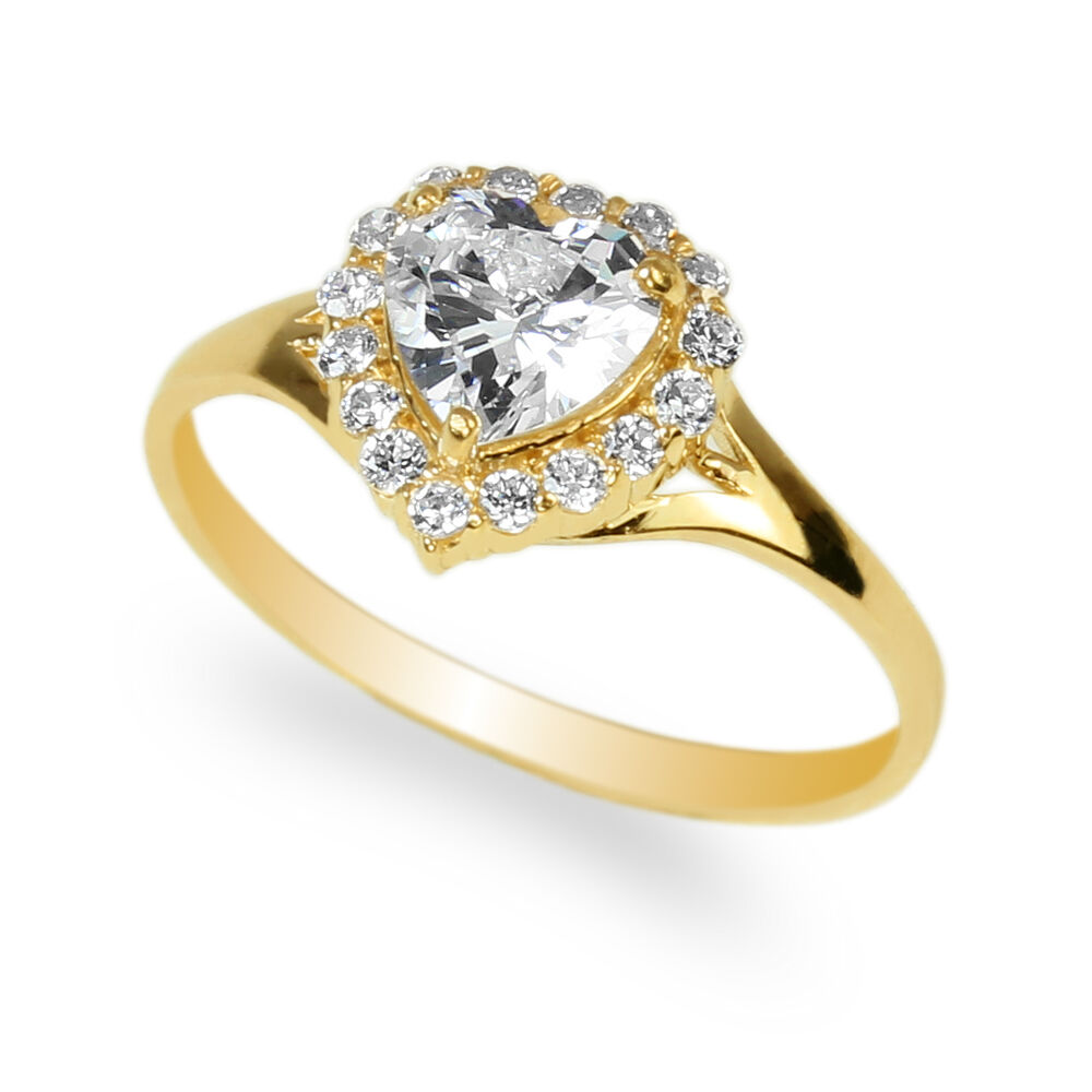 10k Photography 10kphotography: Ladies 10K Yellow Gold Solid Heart Clear CZ Halo Ring Size