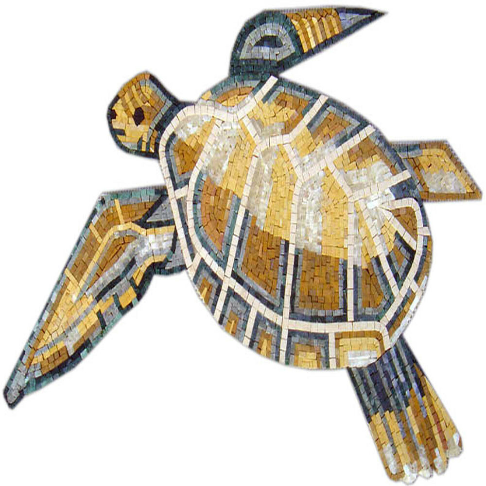 Sea Turtle Swim Pool Garden Home Decor Marble Mosaic An415