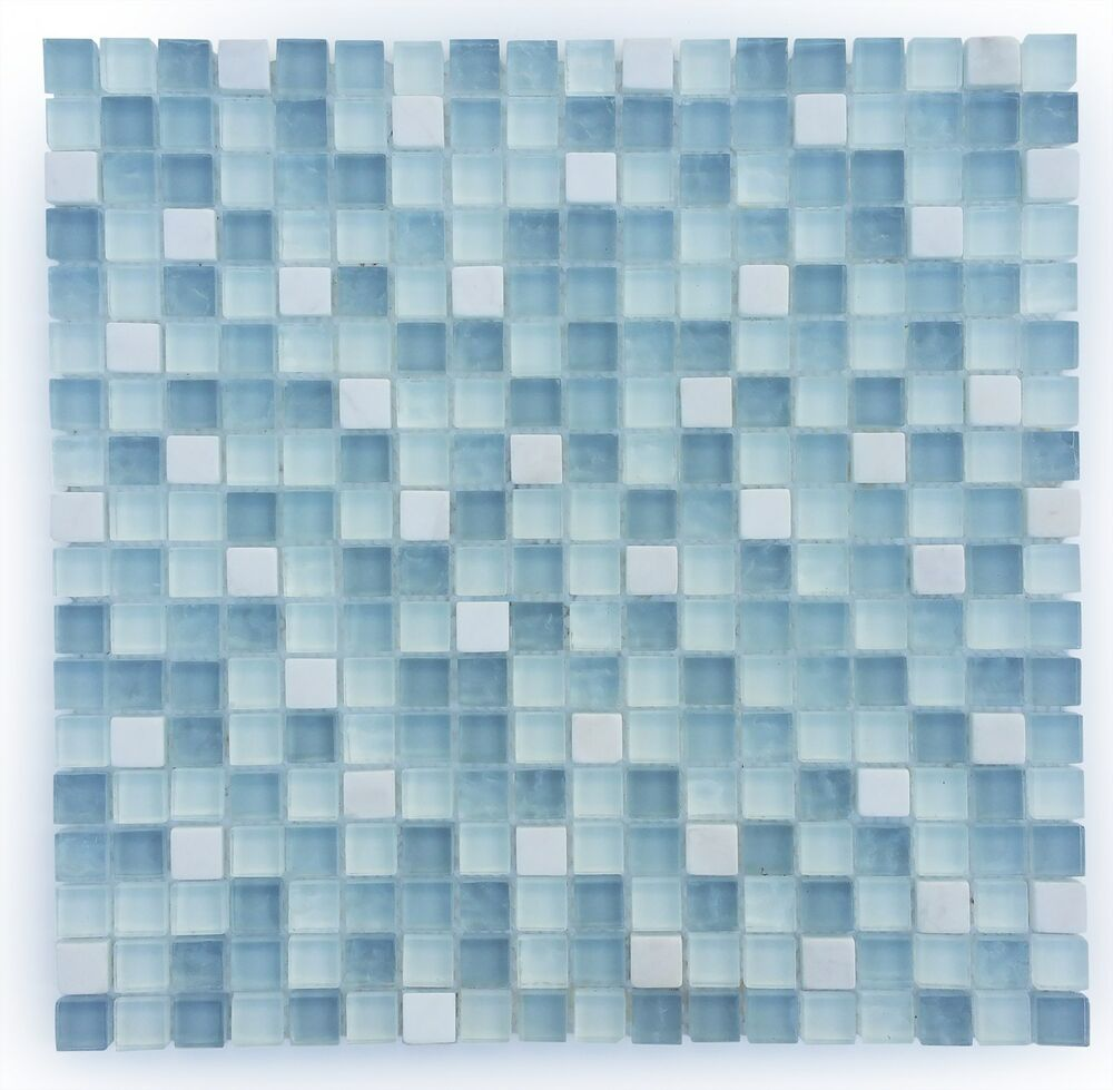 Light blue and white small glass and stone mosaic tile for for Light blue backsplash tile