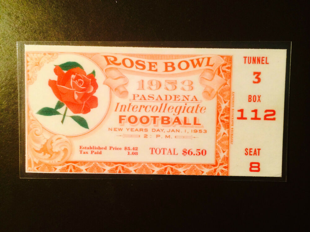 Wisconsin Badgers 1953 Rose Bowl laminated ticket vs USC ...