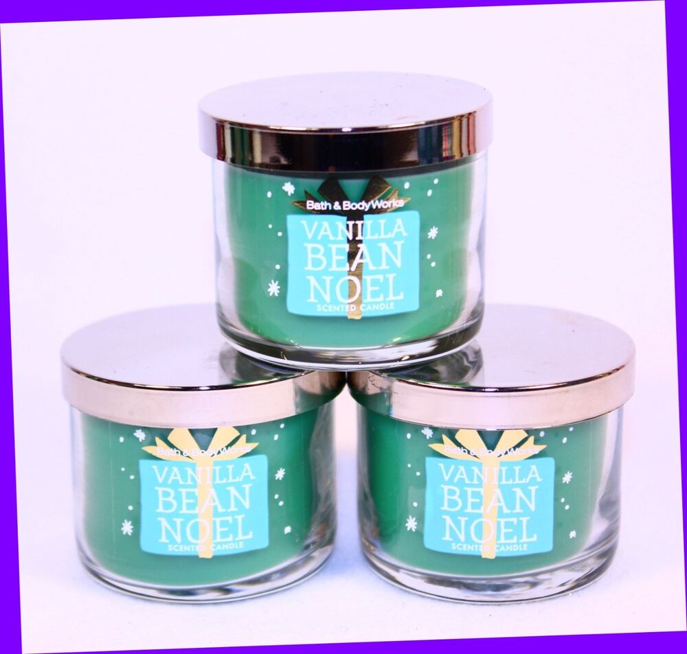 3 bath body works vanilla bean noel 1 3 oz mini candle caramel sugar cocoa ebay. Black Bedroom Furniture Sets. Home Design Ideas