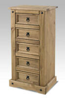 NEW;; CORONA MEXICAN PINE WAXED DISTRESSED  5 DRAWER NARROW CHEST OF DRAWERS