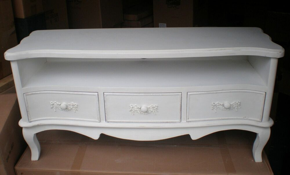 shabby chic ivory off white 3 drawer tv stand television cabinet furniture 4ft ebay. Black Bedroom Furniture Sets. Home Design Ideas