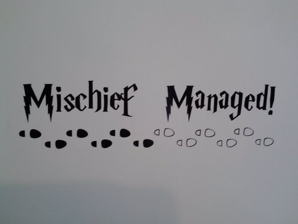 harry potter inspired  mischief managed decal sticker for wall  car  laptop  etc