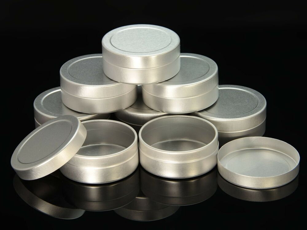 empty aluminium cosmetic pot tin container silver sample
