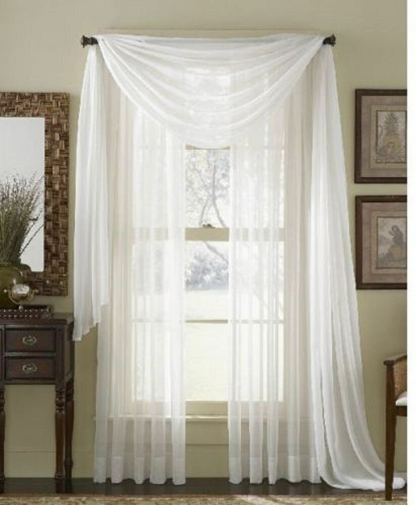 Pure White Scarf Sheer Voile Window Curtain Drapes Valance