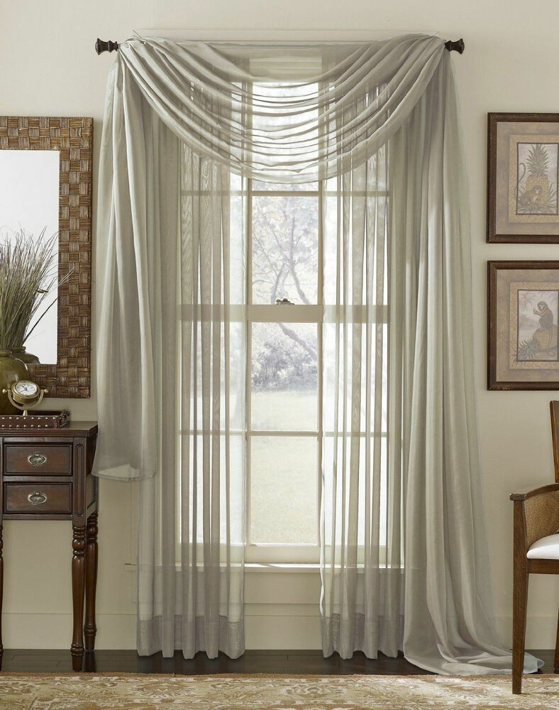 Window Curtains: GREY SILVER SCARF SHEER VOILE WINDOW CURTAIN DRAPES