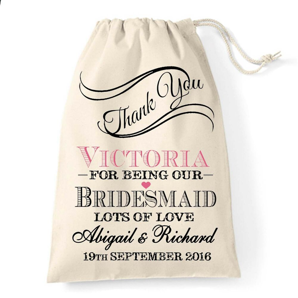 Wedding Thank You Gifts For Bridesmaids: Personalised Vintage Thank You Wedding Favour Bag Maid Of
