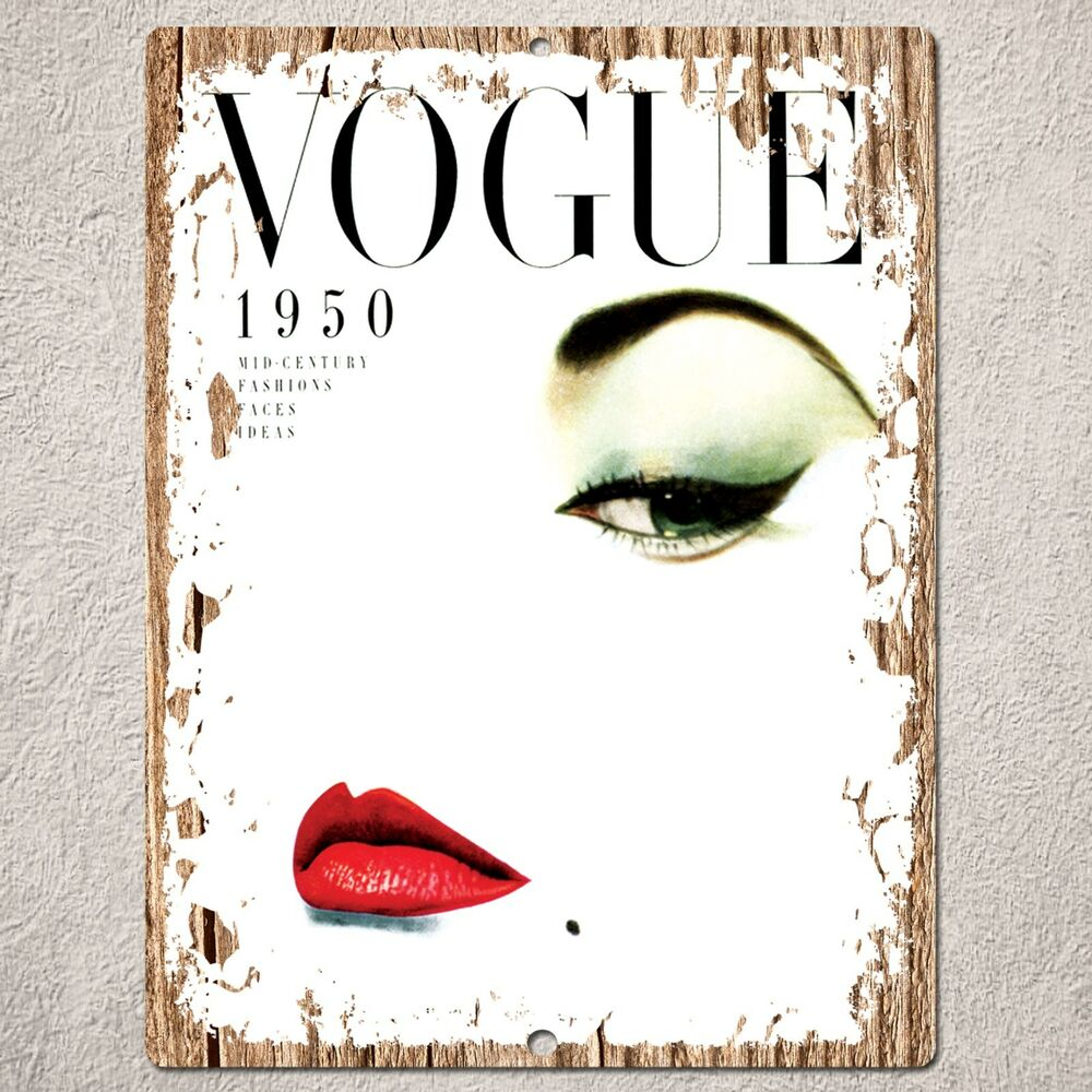 pp0175 wood vintage vogue magazine sign home restaurant