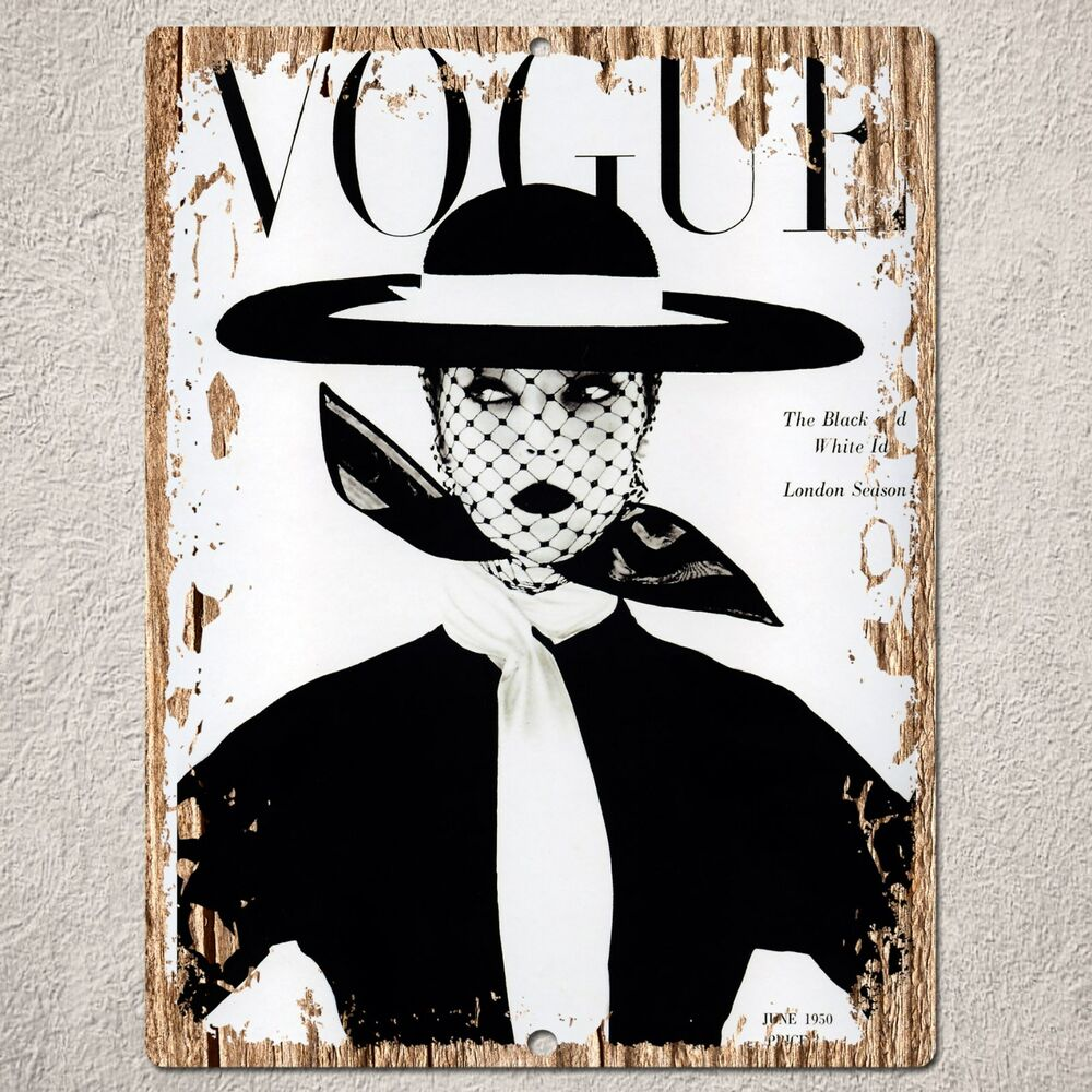 pp0177 wood vintage vogue magazine sign home restaurant