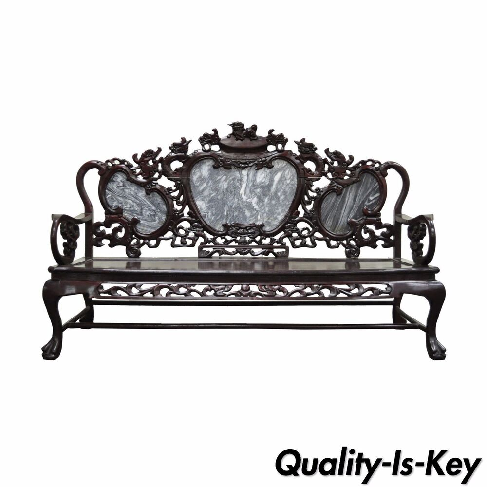 Vintage oriental chinese japanese dragon carved mahogany for Oriental sofa designs