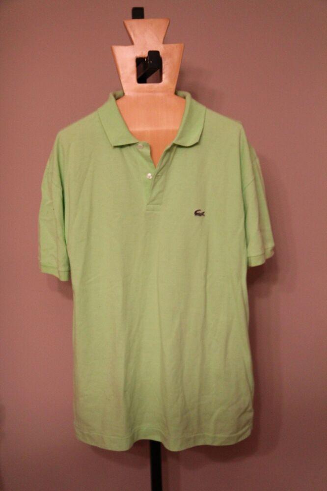 Lacoste mens lime green polo shirt size 7 ebay for Neon green shirts for men