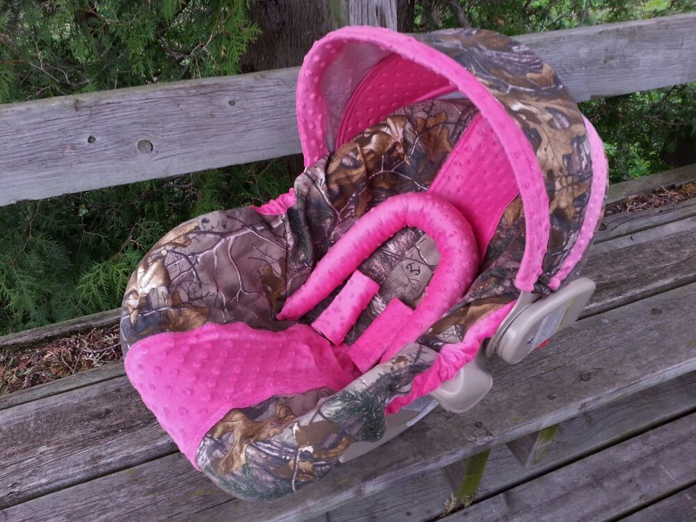 Camo Infant Car Seat Cover Realtree Fabric And Hot Pink Minky Ebay