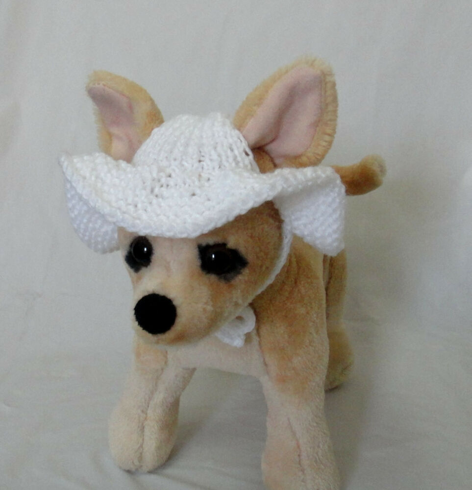 Knitting Pattern For Small Dog Hat : Pet Clothes Outfit Crochet Handmade Knit Brim Hat for Small Dog XS Size eBay