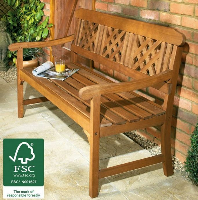 3 Seater Hardwood Bench Classic Wooden Garden Patio