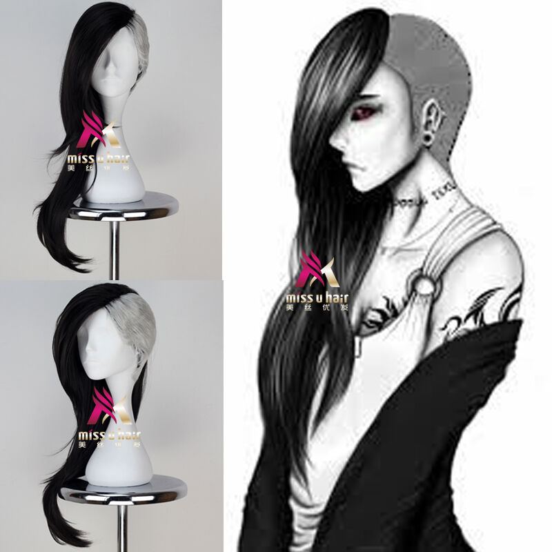 Tokyo Ghoul Uta Mask Maker Wig Long Wavy Black and Silvery Anime ...